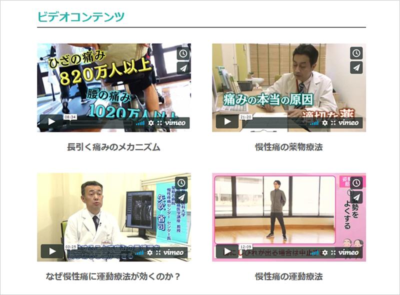 ビデオコンテンツ(慢性の痛み政策ホームページ)